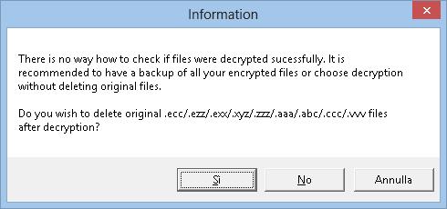 TeslaDecoder cancellare i file criptati