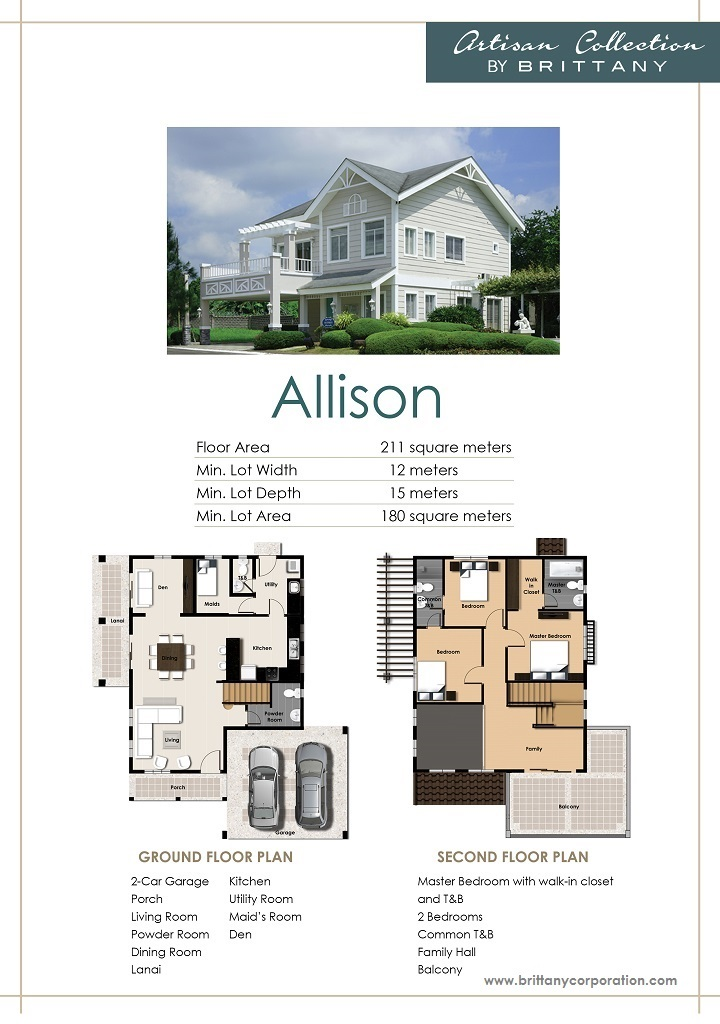 Floor Plan of Allison Model - Georgia Club | House and Lot for Sale Sta. Rosa Laguna