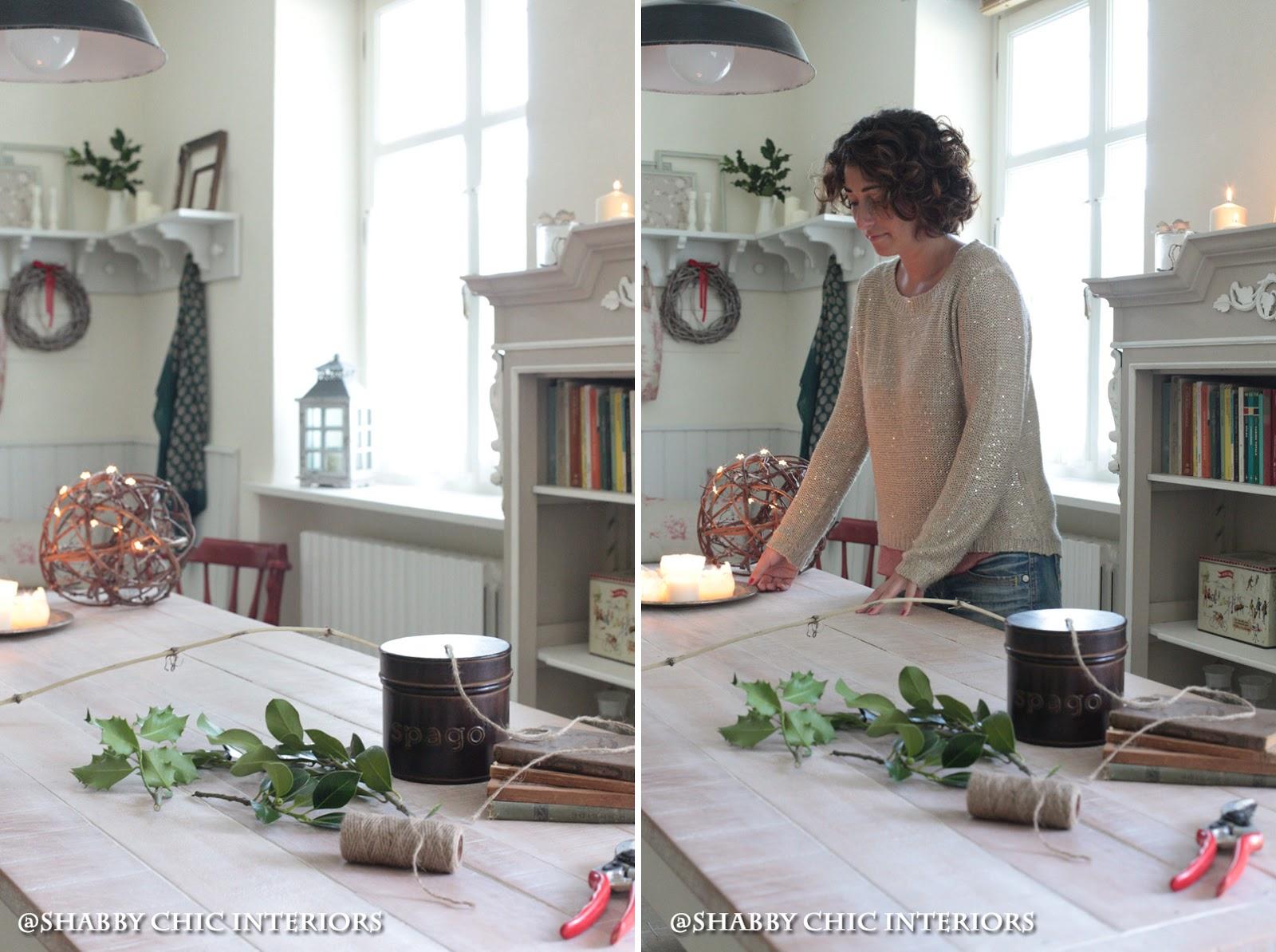 Tutorial ghirlanda di natale shabby chic interiors - Addobbare le finestre per natale ...