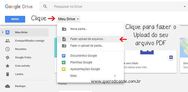 Com seu arquivos PDF já criado. Faça o upload.