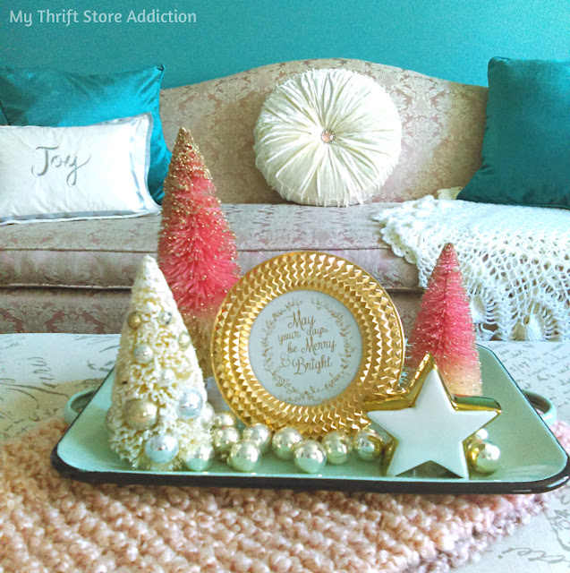 Aqua and Blush Nontraditional Christmas Decor