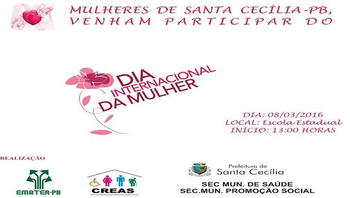 Santa Cecília de Umbuzeiro promoverá evento do Dia Internacional da Mulher