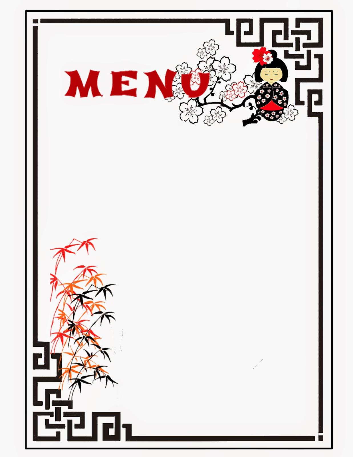 Menu para Imprimir Gratis de Kokeshi.