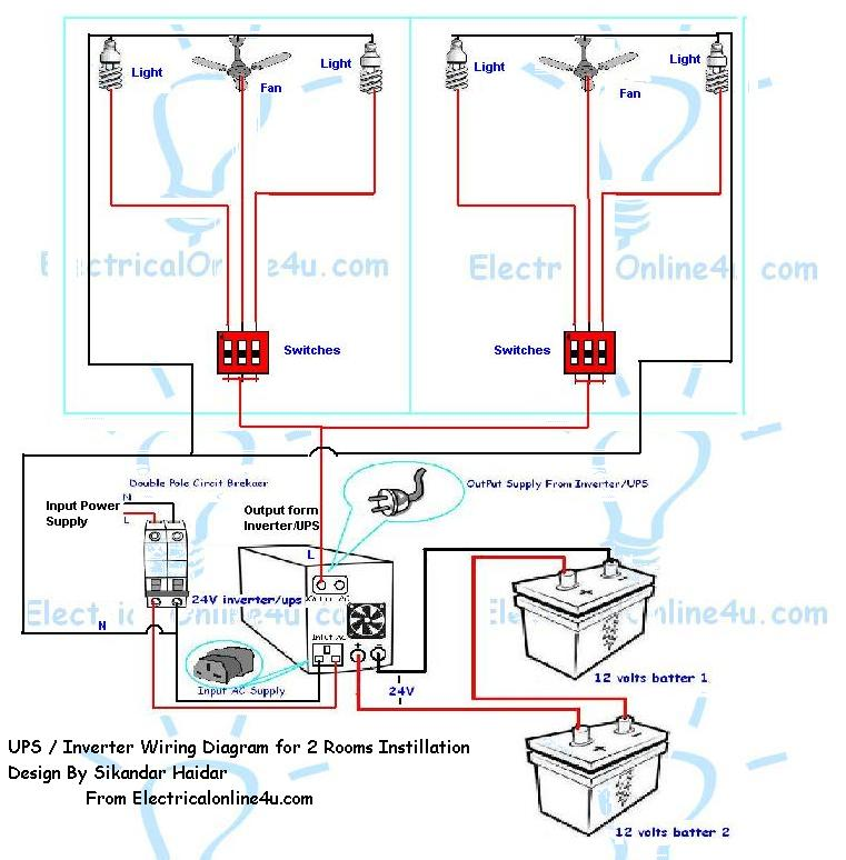 how to install ups  inverter wiring in 2 rooms