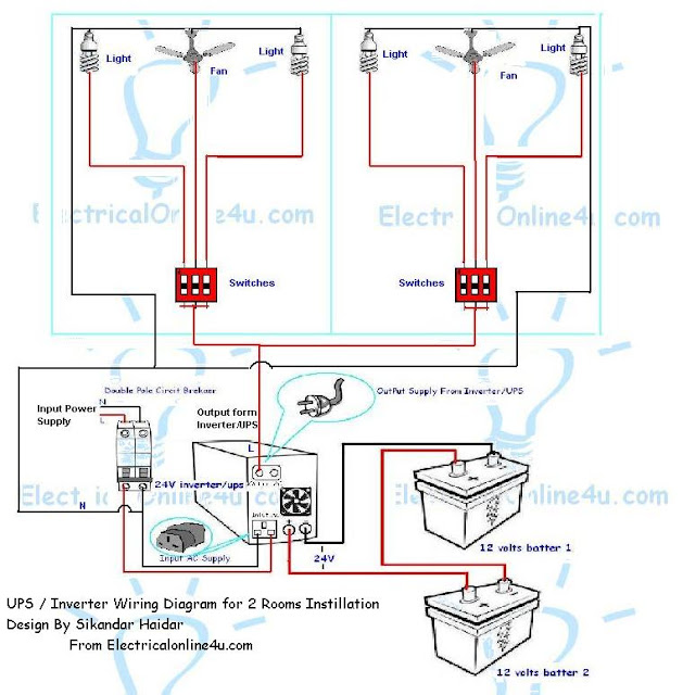 how to install ups & inverter wiring in 2 rooms ... two room design with wiring diagram two prong micro switch wiring diagram #9