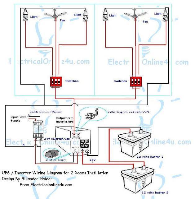Wiring Diagram Of Ups How To Install Inverter In 2 Rooms Subaru Diagrams & Rooms? | Electrical Online 4u