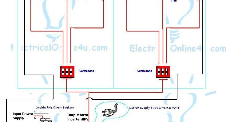 Home Ups Inverter Wiring Diagram Gm Diagrams Online How To Install & In 2 Rooms? | Electrical 4u