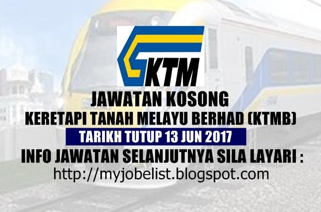 Jawatan Kosong Terkini di KTMB Jun 2017