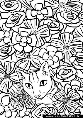 A coloring page of a cat amongst flowers / Värityskuva kissasta kukkien keskellä