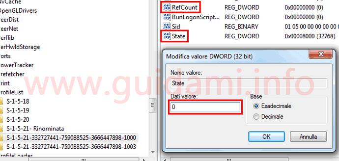Modifica dati valore Editor del Registro di sistema