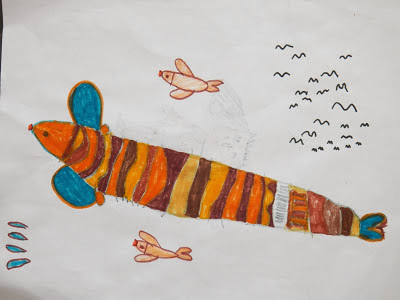 kids never mind drawing fish with birds lamai chithra wala maluwo saha kurullo