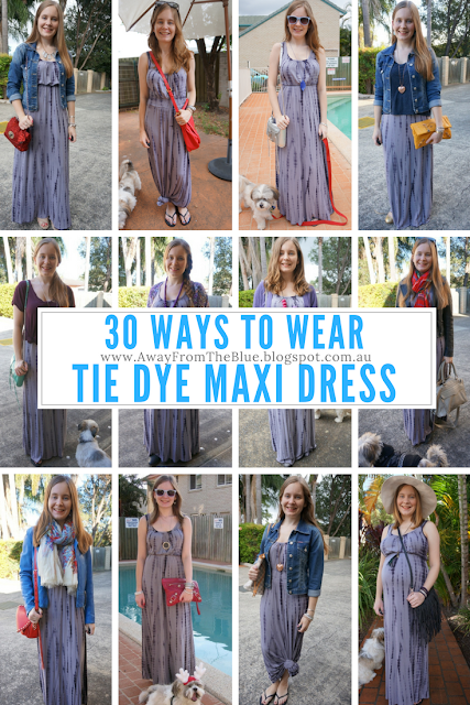 30 ways to wear a grey jersey tie dye maxi dress #30wears challenge | away from the blue blog