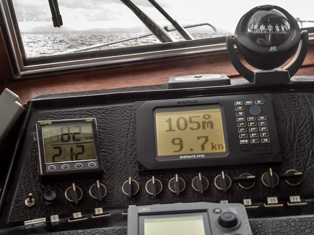 Photo of Ravensdale's depth sounder showing 21.2m, which is the depth beneath her keel