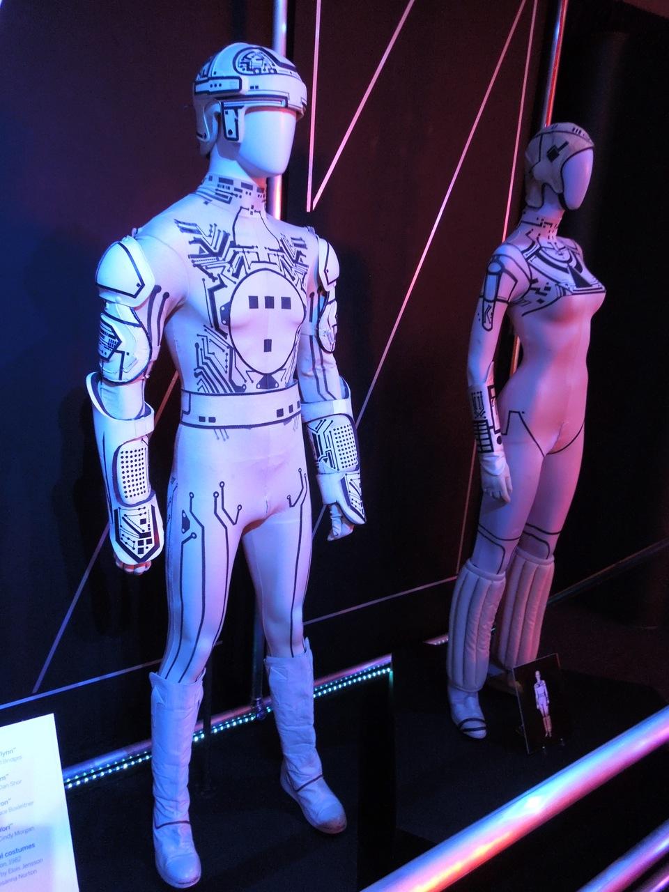 original 1982 tron movie costumes on display. Black Bedroom Furniture Sets. Home Design Ideas