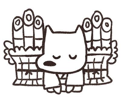 門松の前で挨拶をする犬のイラスト(戌年)白黒線画