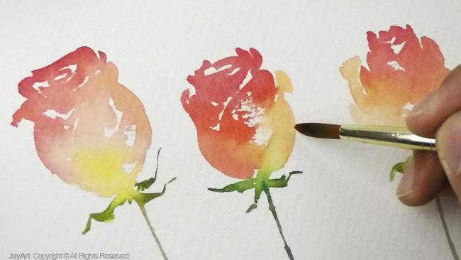 Jay Lee Watercolor Painting Simple Rose
