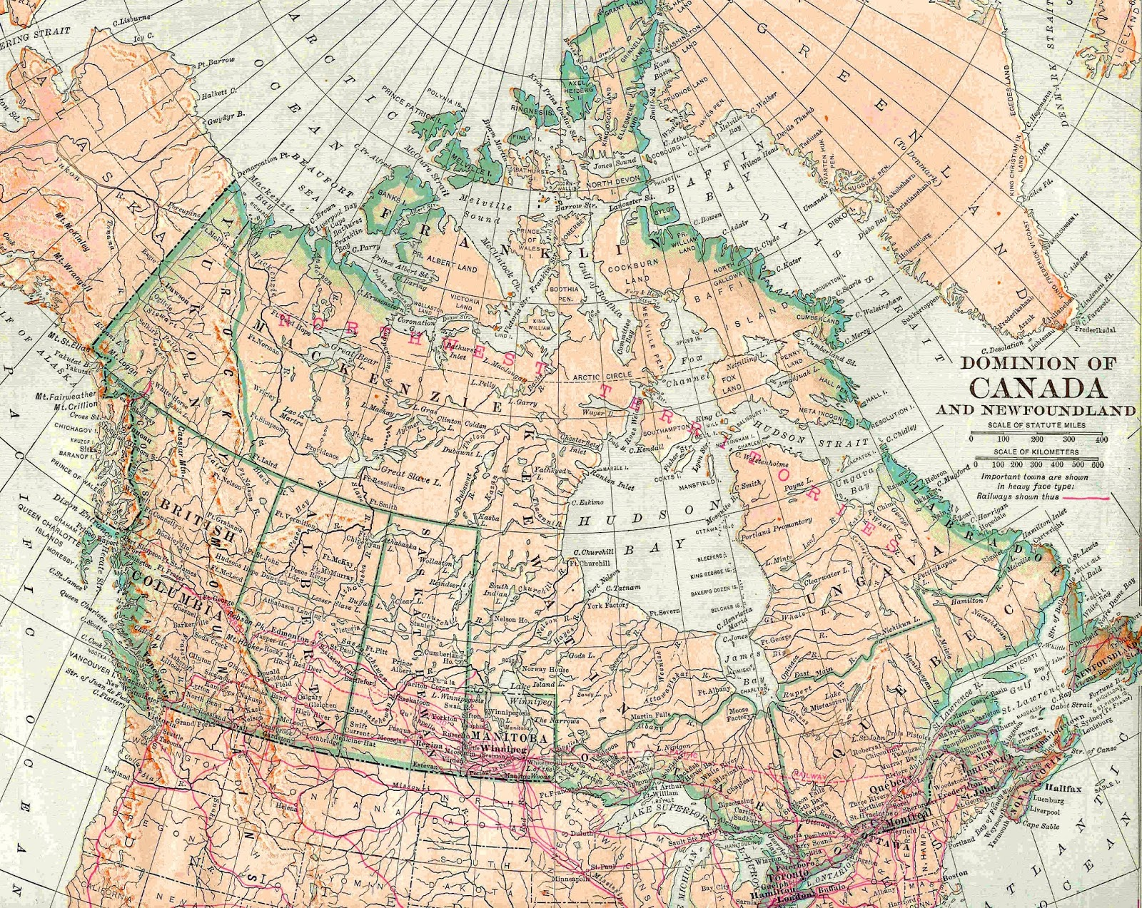 Antique Images: Vintage Map Background: 1913 Map Graphic of Canada