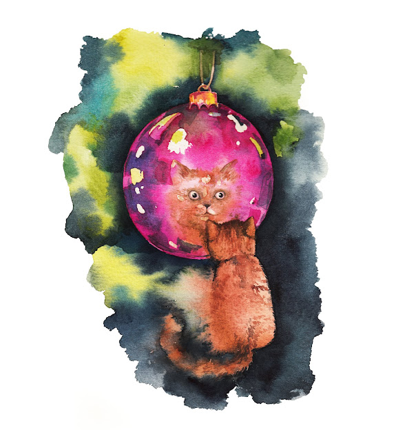 watercolour illustration, illustration, freelance illustrator, illustrator, anastasiya levashova, kava illustration, levashova art, cat illustration, cat painting, can drawing, cute cat, christmas illustration, christmas cards illustration, cat loves, london artists, uk art, i need an illustrator,
