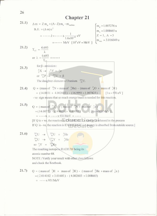 2nd Year Physics Solved Numericals Chapter 21 Notes - Nuclear Physics
