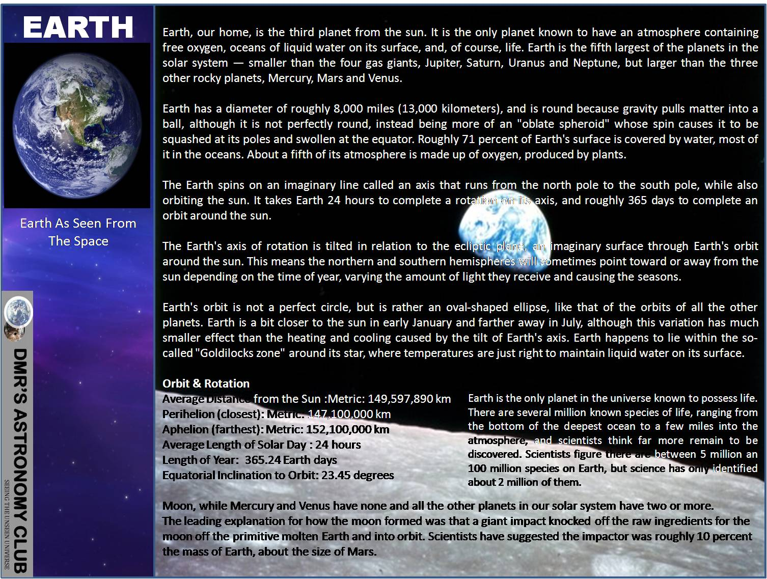 Dmr S Astronomy Club Solar System Facts About Earth
