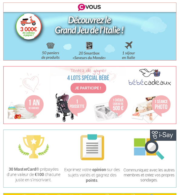 Les Jeux concours gratuits du moment pour Gagner des Cadeaux