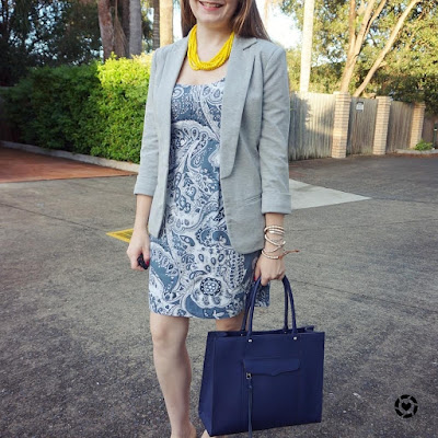 awayfromblue instagram grey jersey blazer paisley print sheath dress navy MAB tote bag yellow necklace