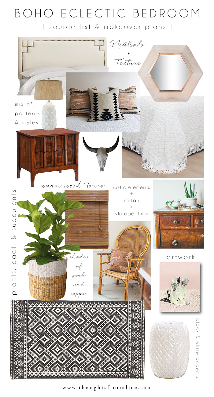 Boho eclectic bedroom source list makeover plans for Room decor list