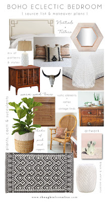 Bohemian Eclectic Bedroom Inspiration Moodboard