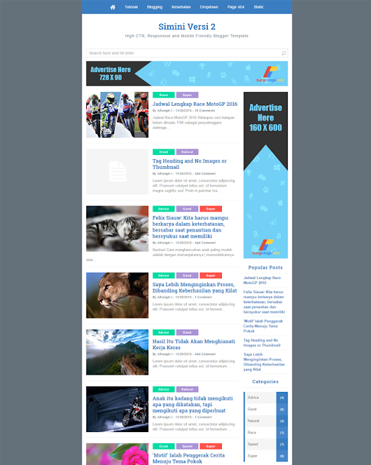 Simini-v2 - Mobile Friendly, Fastest and SEO Friendly Blogger Template | Themeindie.com