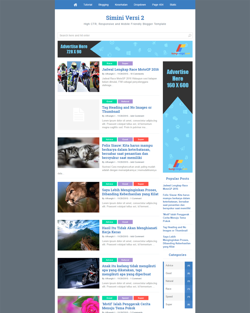 Simini-v2 - Mobile Friendly, Fastest and SEO Friendly Blogger Template