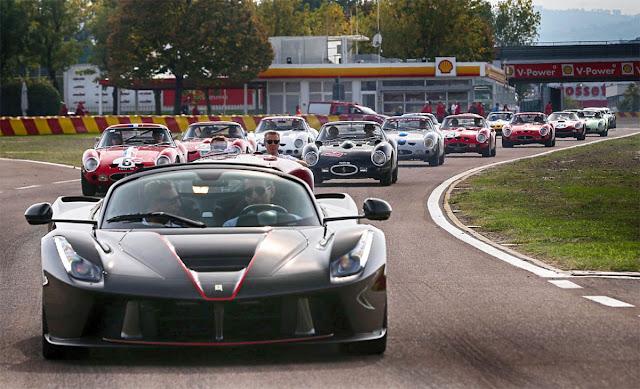 Parade on the Mugello circuit with a LaFerrari anniversary edition, Ferrari GTO Cavalcade, Gas station, Italy