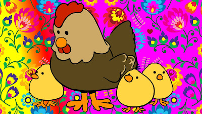 Moeder kip met kuikens en bloemen