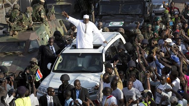 Gambia's President Adama Barrow arrives home from Senegal