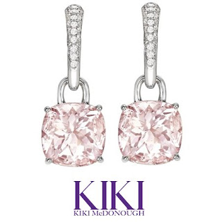 Kate Middleton Style Kiki Classic Morganite and Diamond Cushion Drop Earrings