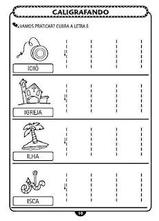 Atividades de Caligrafia Educação Infantil - Vogais - Letra I
