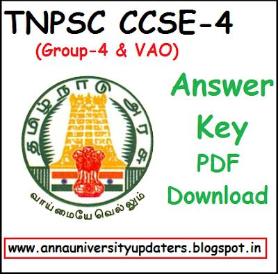 TNPSC Group 4 VAO Answer Key 2018 PDF Download - CCSE 4 Solution book @ tnpsc.gov.in