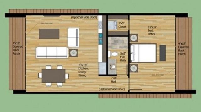 Plano de casa moderna de 65 m2 planos de casas gratis y for Casa moderna 60 m2