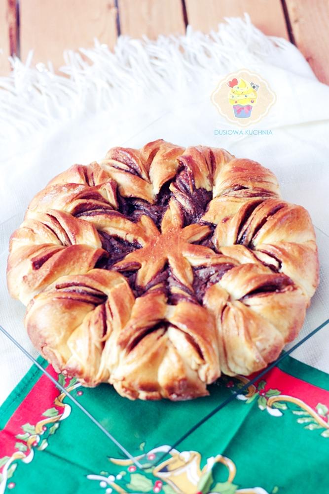 drożdżowa gwiazda z nutellą, gwiazda z nutellą, gwiazda ciasto, boże narodzenie ciasto, wigilia ciasto