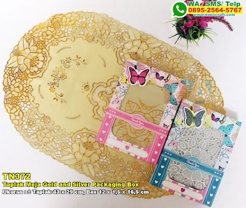 Taplak Meja Gold And Silver Packaging Box