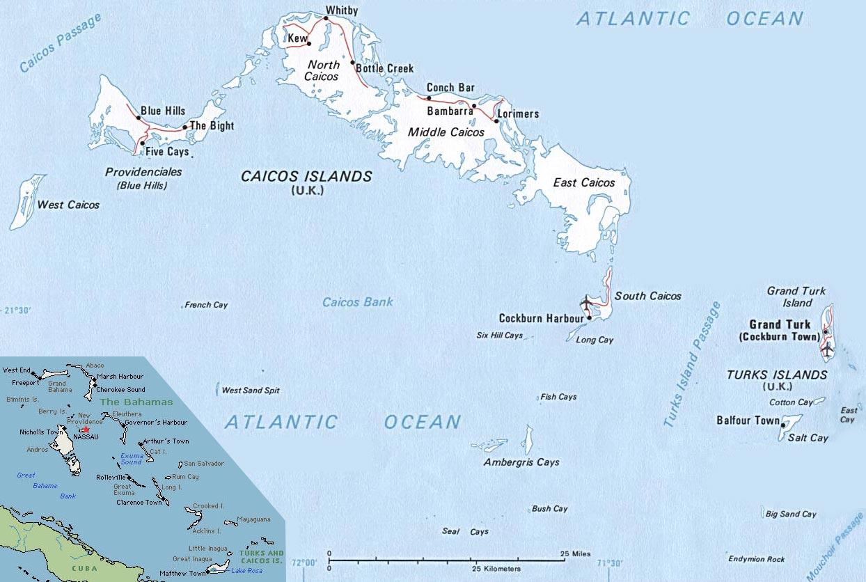 Mapas de Turks e Caicos | Reino Unido