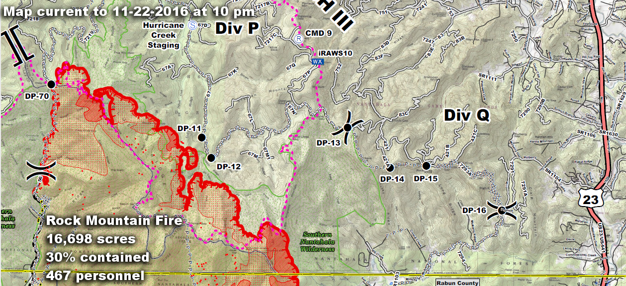 Rock Mountain Fire  Map of northeast Sector with Stats