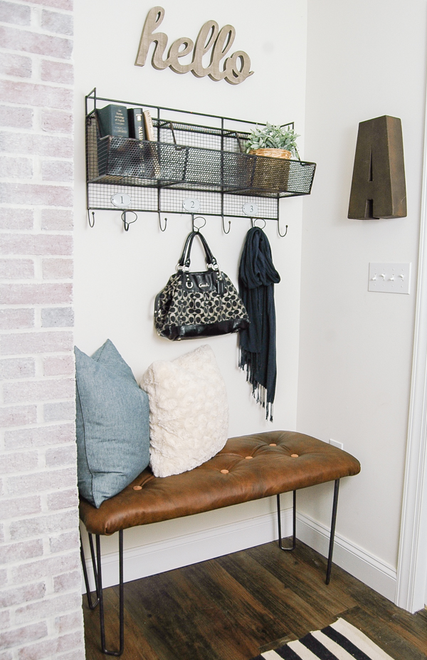 Diy Tufted Leather Bench With Custom Hairpin Legs Little House Of Four Creating A Beautiful Home One Thrifty Project At Time