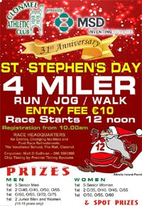 Popular 4 mile race in Clonmel on Stephens Day - 26th Dec 2019