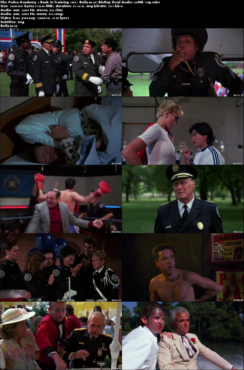 Police Academy 3 Back In Training 1986 BluRay 700MB Hindi Dual Audio 720p Download