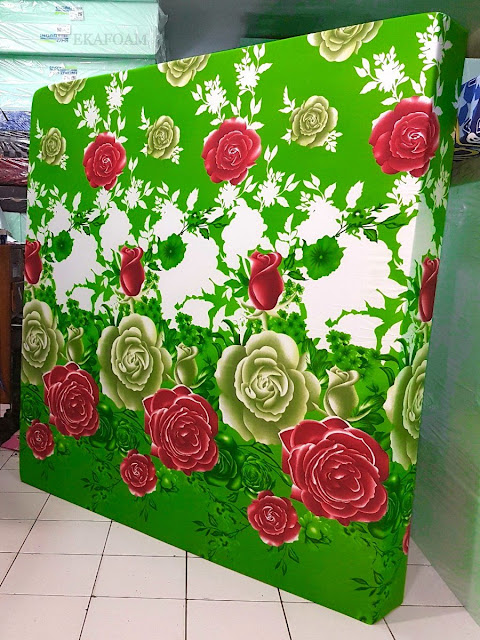 Kasur inoac motif bunga mawar hijau