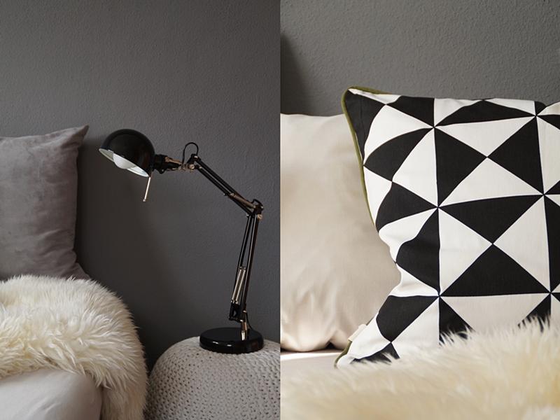 Cozy black, white and gray scandinavian bedroom