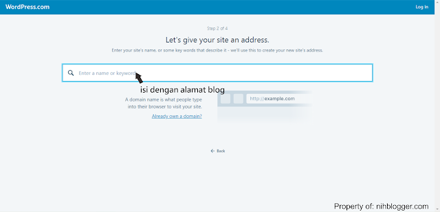 memilih alamat blog di wordpress