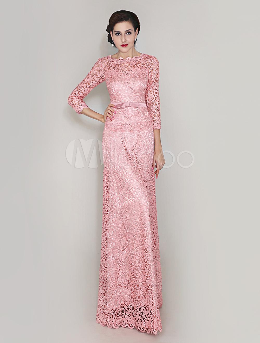 Vestido longo renda guipir rosa
