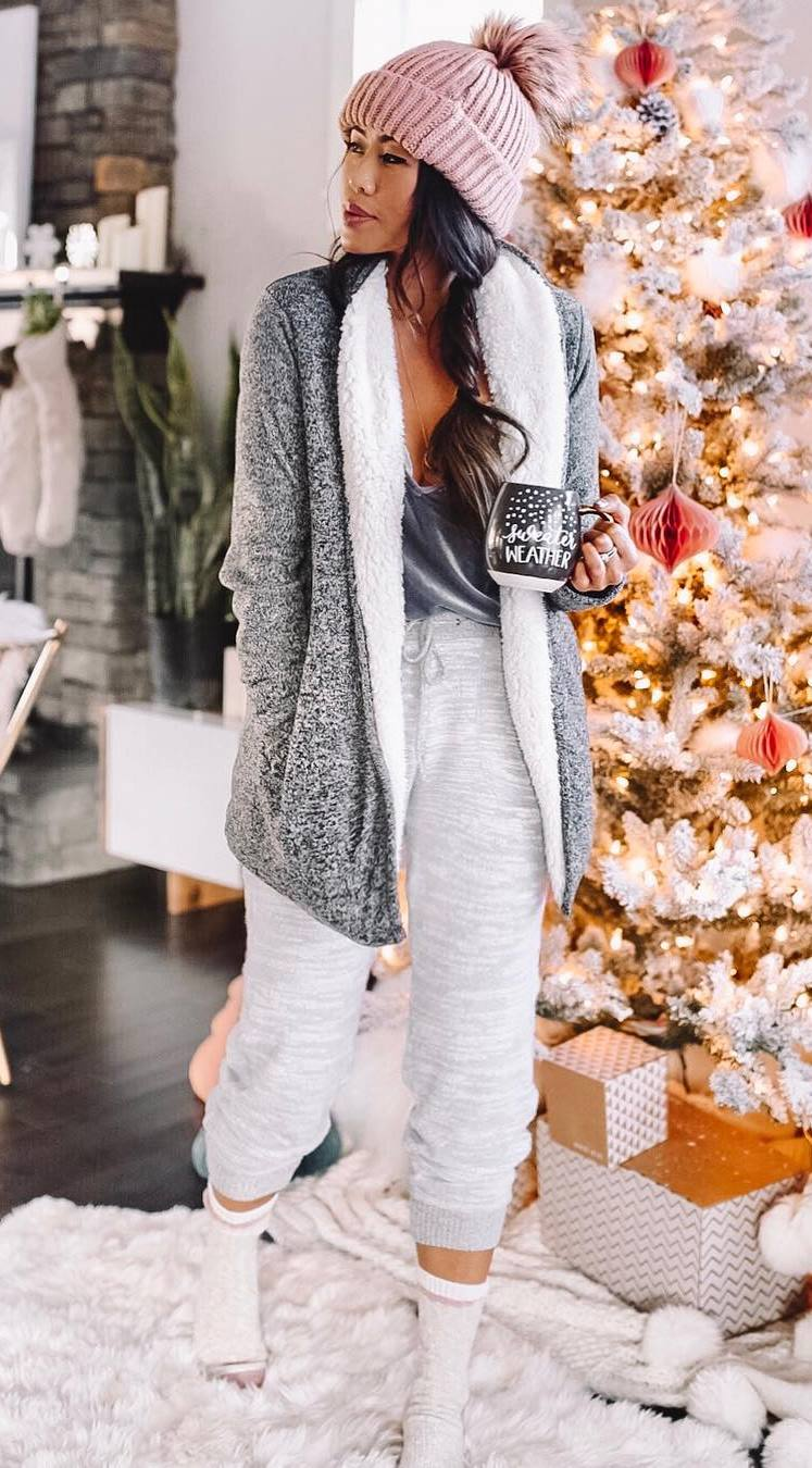 comfy outfit idea for christmas morning_cardigan + knit hat + top + pants + socks
