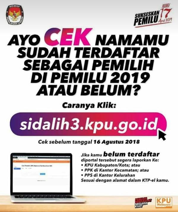 Begini Cara Cek Nama Anda Terdaftar atau Tidak pada Pemilu 2019